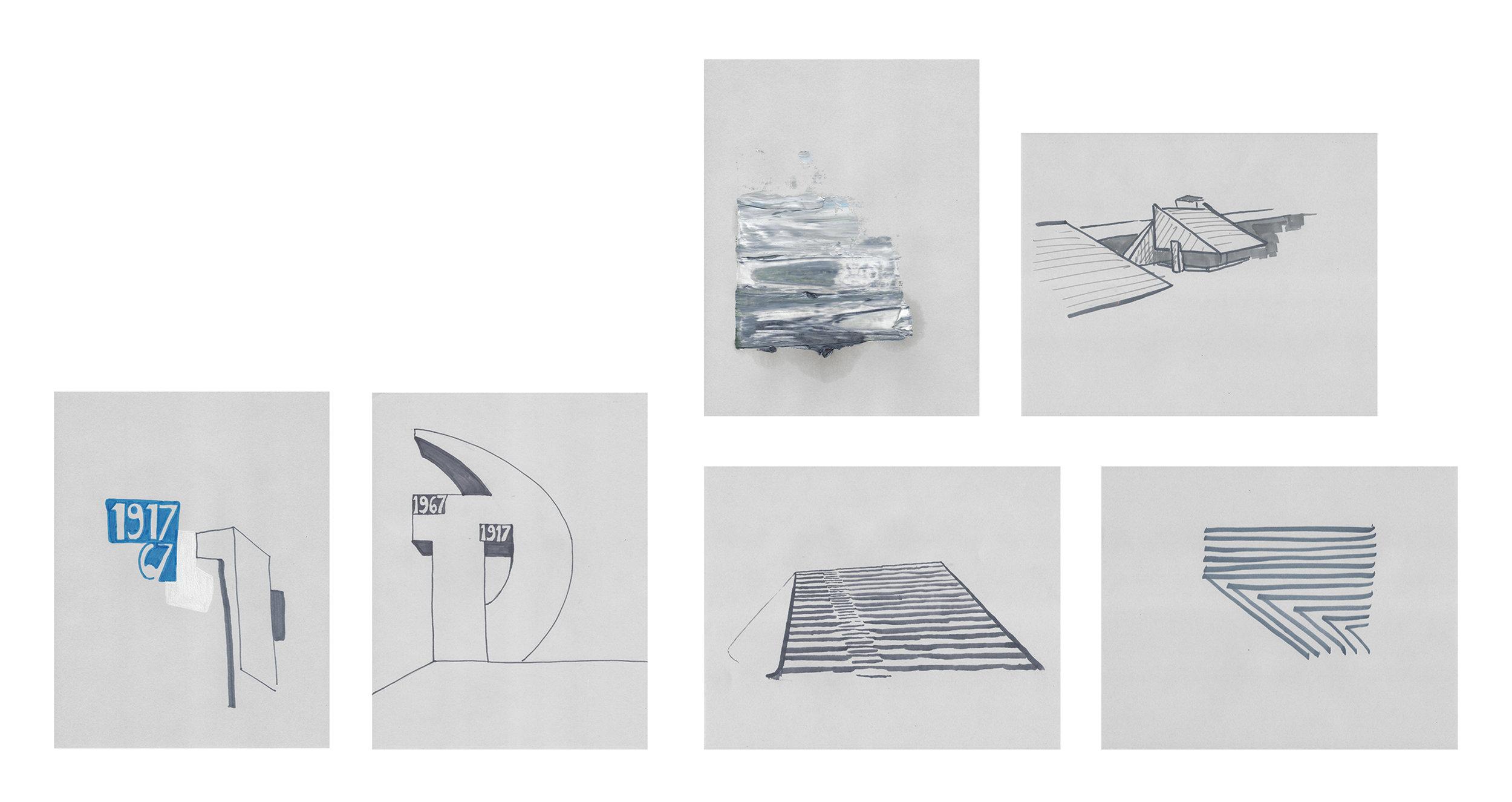 Terre des hommes  , 2017, óleo tinta y lápiz sobre papel, 28 x 22 cm.