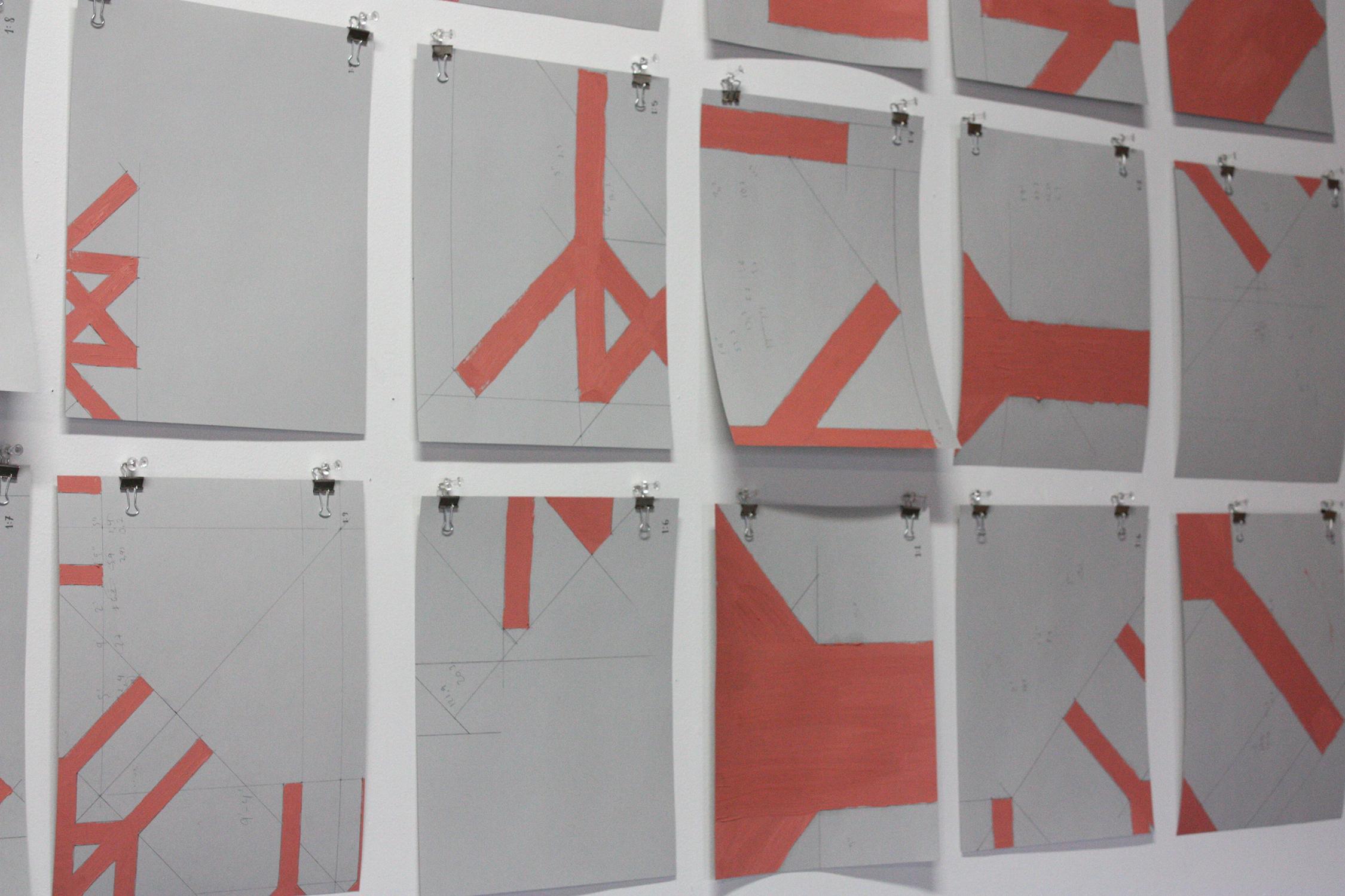 1:1 - 1:9  , 2017, óleo sobre papel, 18 dibujos de 28 x 22 cm.