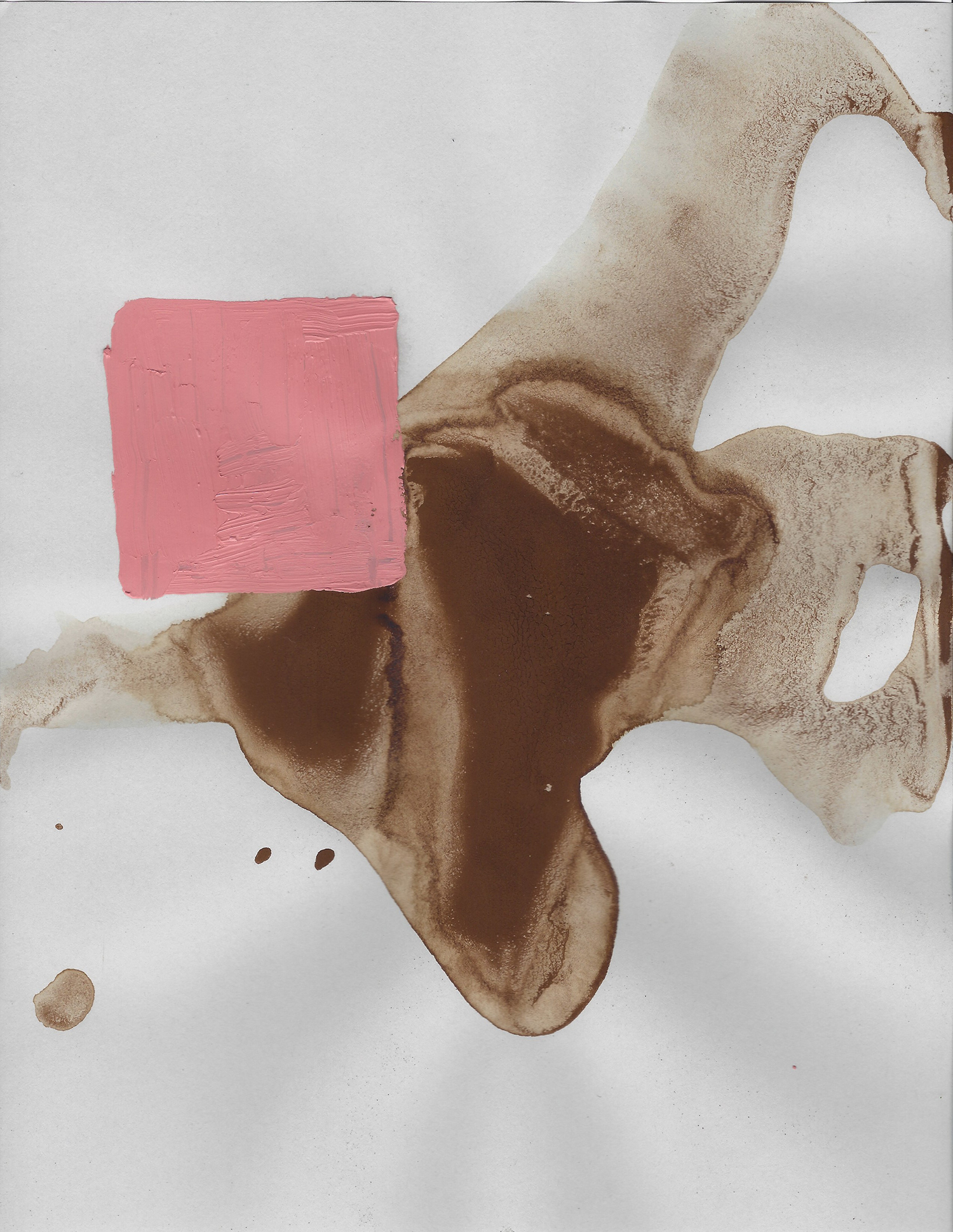 Terre des hommes  , 2017, óleo y café sobre papel, 28 x 22 cm.