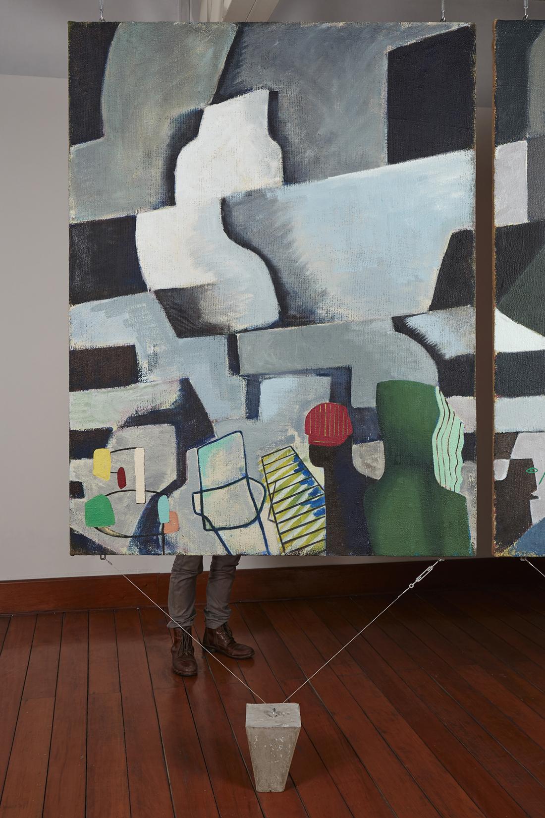 Una nueva era, panel O38k  , 2018, óleo sobre yute, 183 x 140 cm.