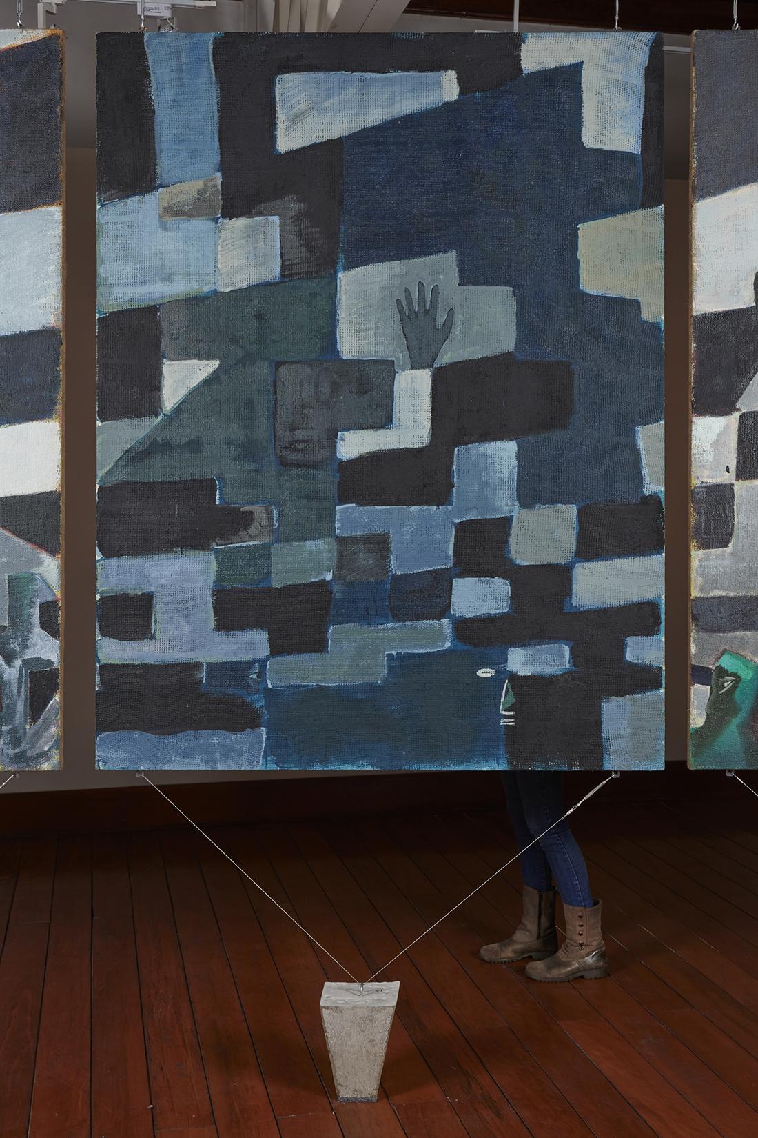 Una nueva era, panel O38t  , 2018, óleo sobre algodón, 183 x 140 cm.