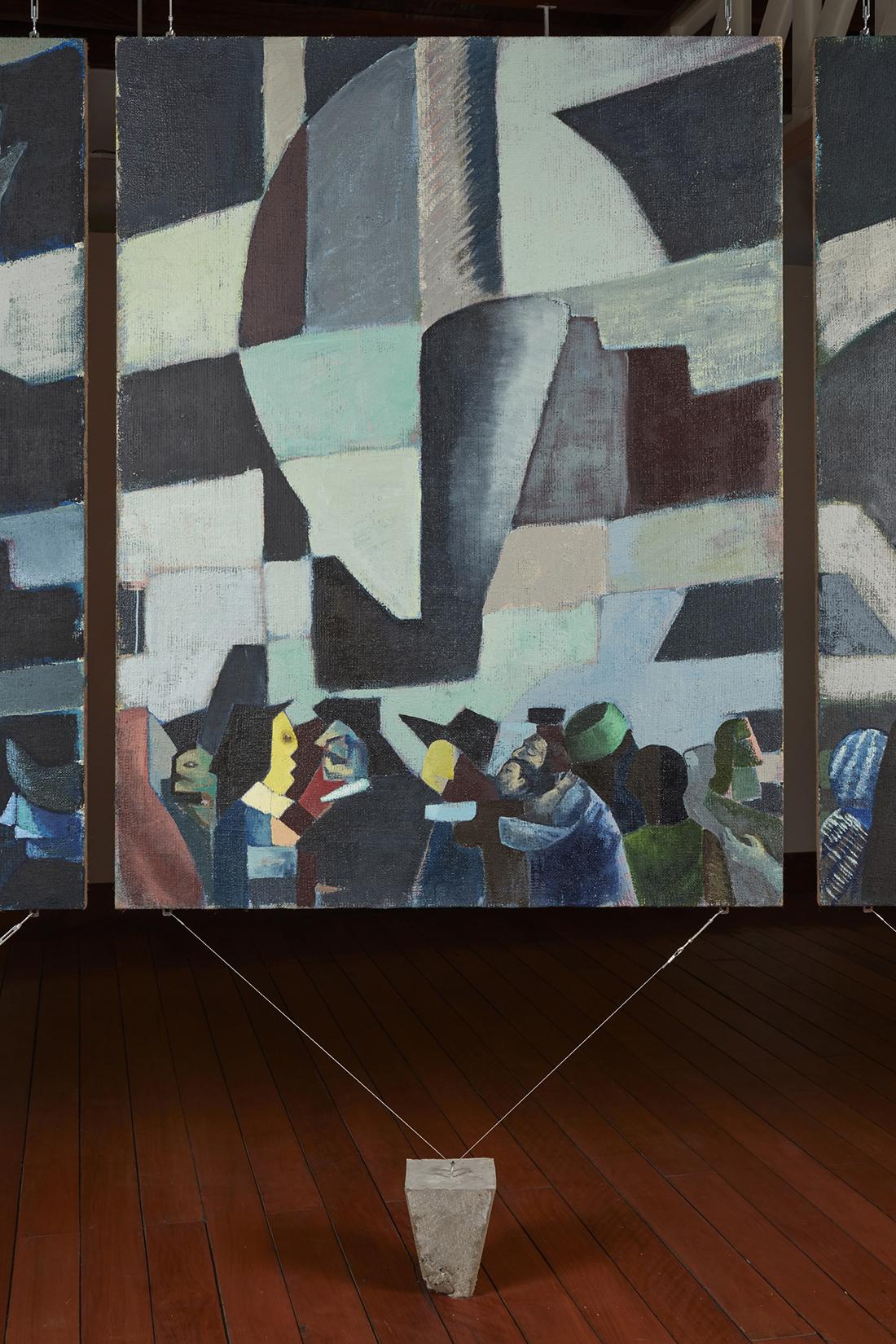 Una nueva era, panel O38n  , 2018, óleo sobre yute, 183 x 140 cm.