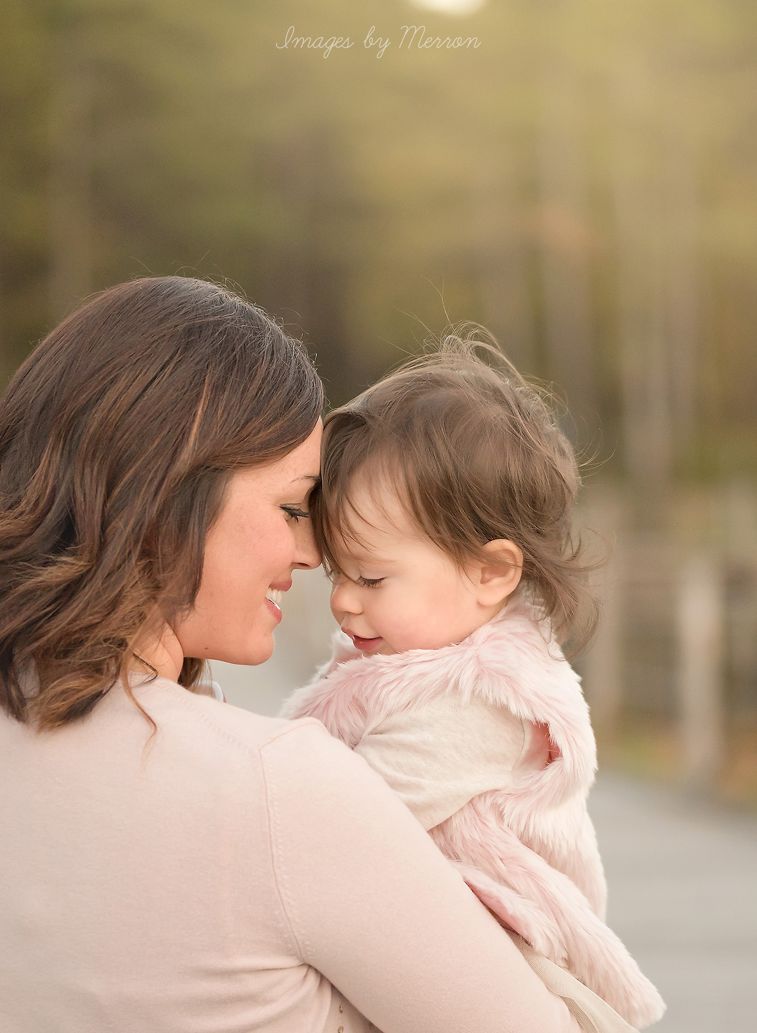 Girls in pink during mommy & me session in Ankeny, Iowa