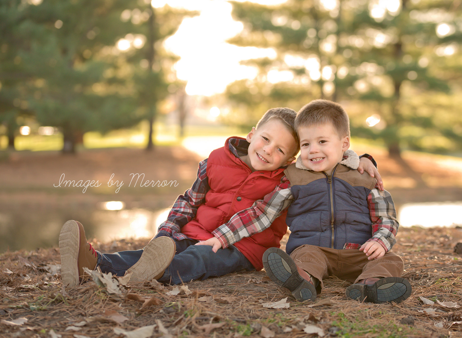 Brothers sitting nicely together during photography session in Johnston, Iowa