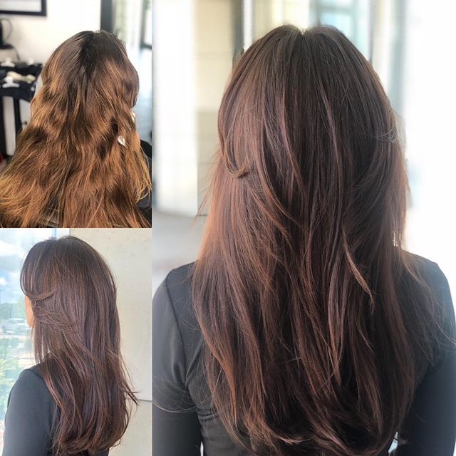Last spring @paige_gallet was blonde and somehow her rich brunette hair makes me never wanna go back . She gets what she wants because she is awesome and so happens to be our client .  #salonjcf #brunette #brunettebalayage #haircolorist #lafayettehair #hair #nychairstylist #behindthechair #modernsalon #longhair #hairgoals #hairstylist