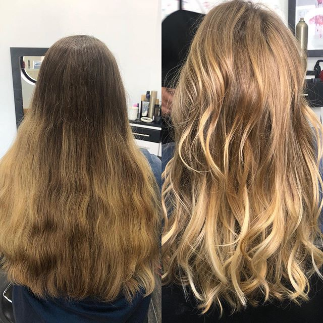 Happy Tuesday!! Before and after balayage... All lightening processes aren't high maintenance.  Clients like this usually go 6 months or more between color appointments.  #salonjcf #haircolor #balayage #lafayettehair #haireducator #haircut #hair #lafayettesalon #ny2la #nychairstylist #modernsalon #transformation #naturalblonde #integrity #behindthechair #wella