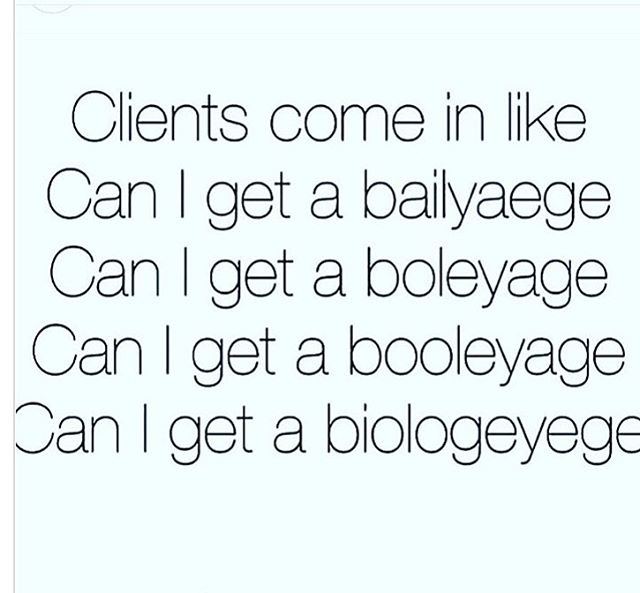 How do you say balayage 😆? However you say it, just know you're not the only one and we've heard it all... #salonjcf #everyday #modernsalon #lafayettehair #lafayettesalon #ny2la #behindthechair #wella #matrix #blondor #balayage #loveourclients #bleach #nychairstylist