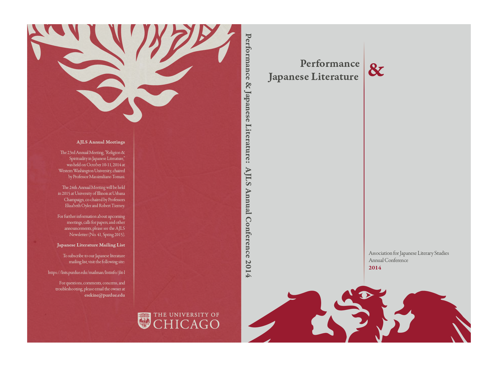 Literature Conference Cover Design, University of Chicago