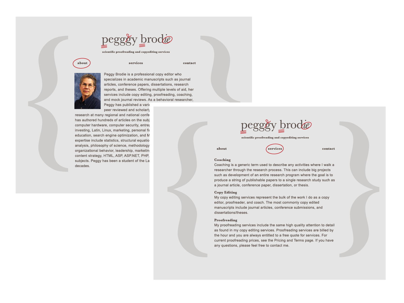 About and Resume Pages, Peggy Brodie