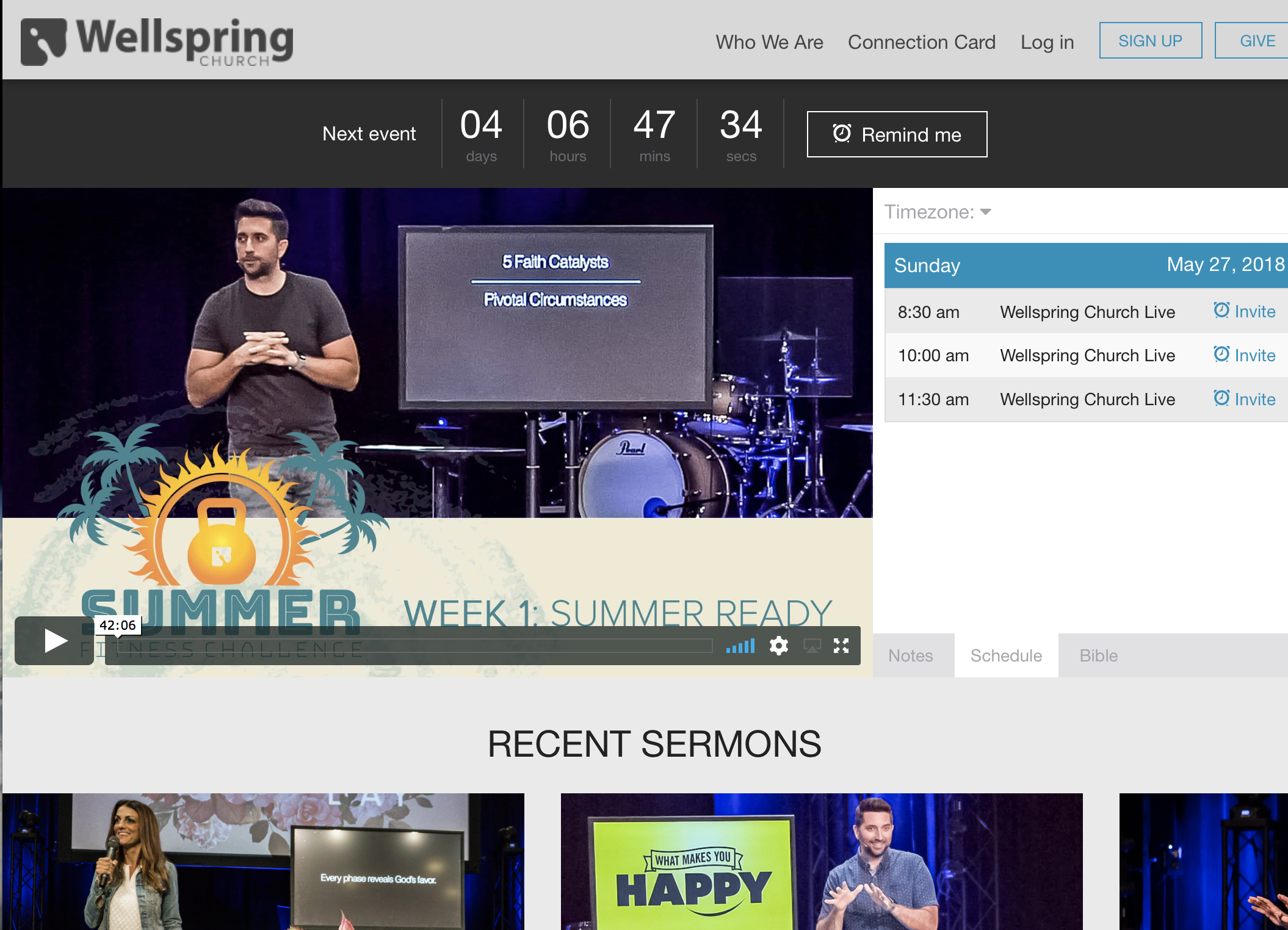 Video Production & Live Streaming - wellspringlive.com . Click on the image above to go to the website that hosts the live stream on Sunday mornings.