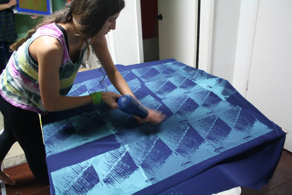 Designer Jessica Bley Dries a Screenprinted Fabric - Spring 2014