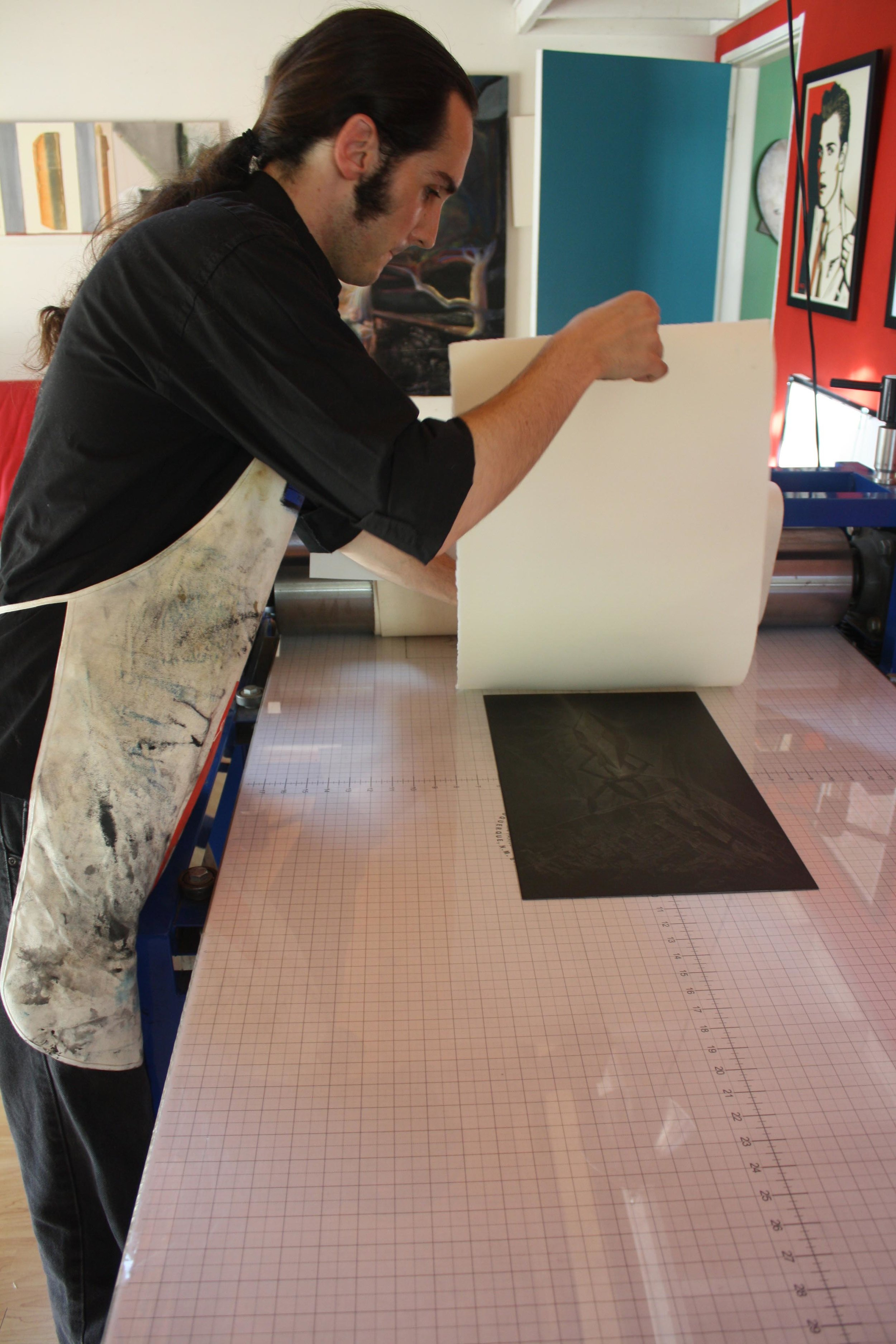 "Artist-in-Residence Douglas Bosley Printing His Etching ""LD:4334.0003"" - Summer 2014"