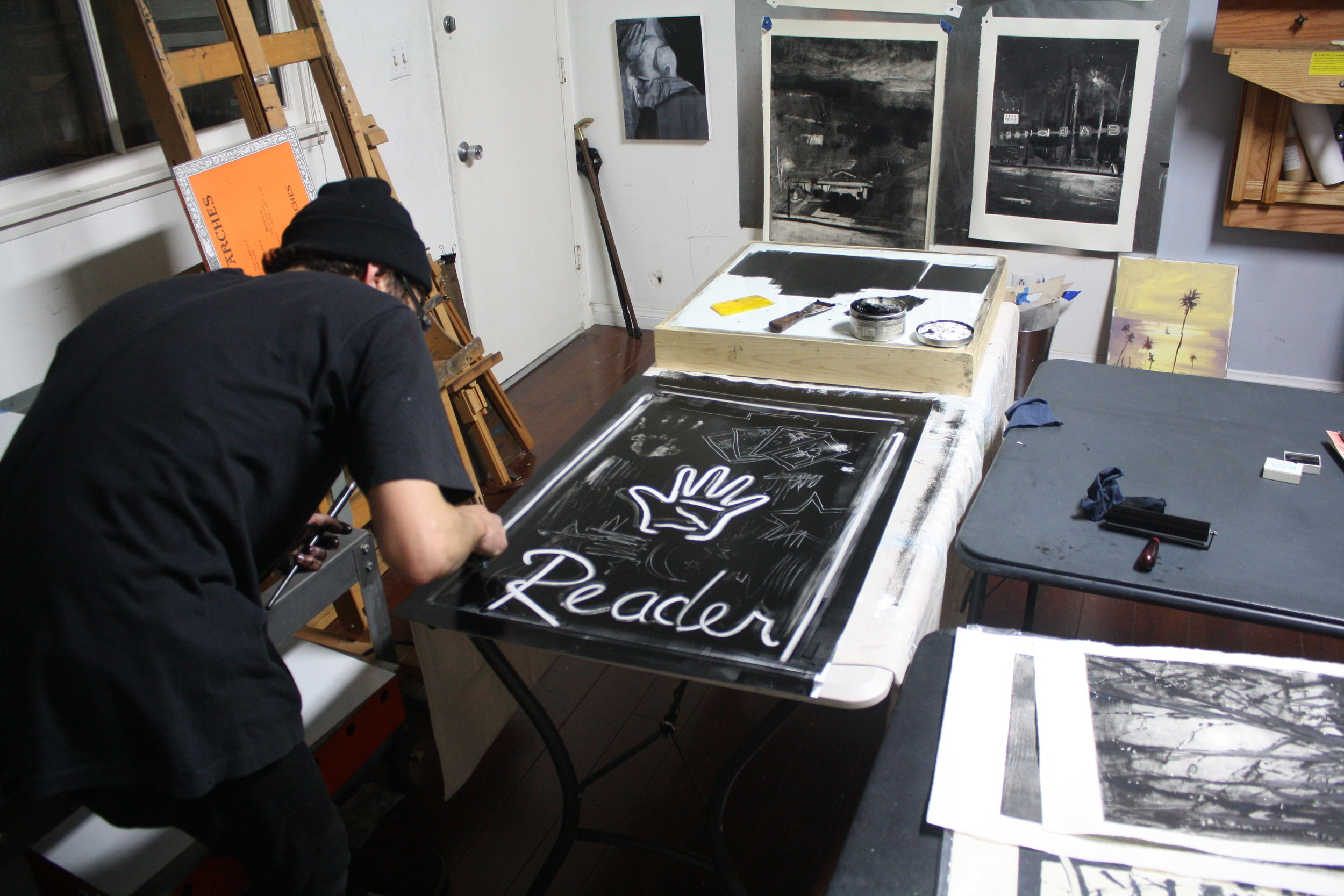 Visiting Artist Nathan Zeidman Developing a Monotype - Spring 2014