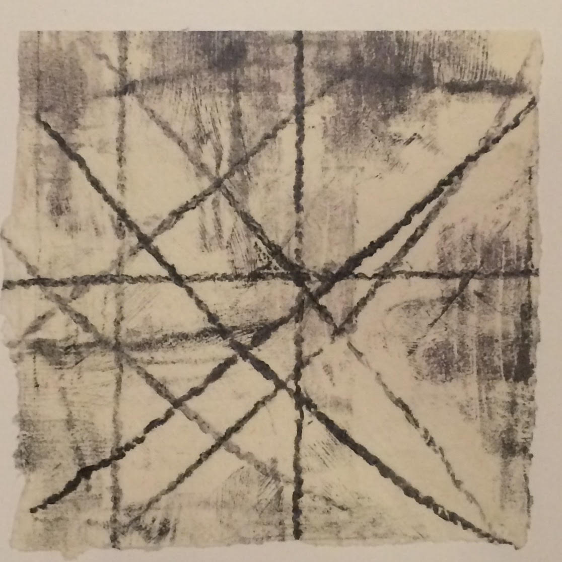 Double Bind (no.1)  -  $100  - Collagraph Print on Handmade Paper, 6'' x 6'' UNFRAMED.