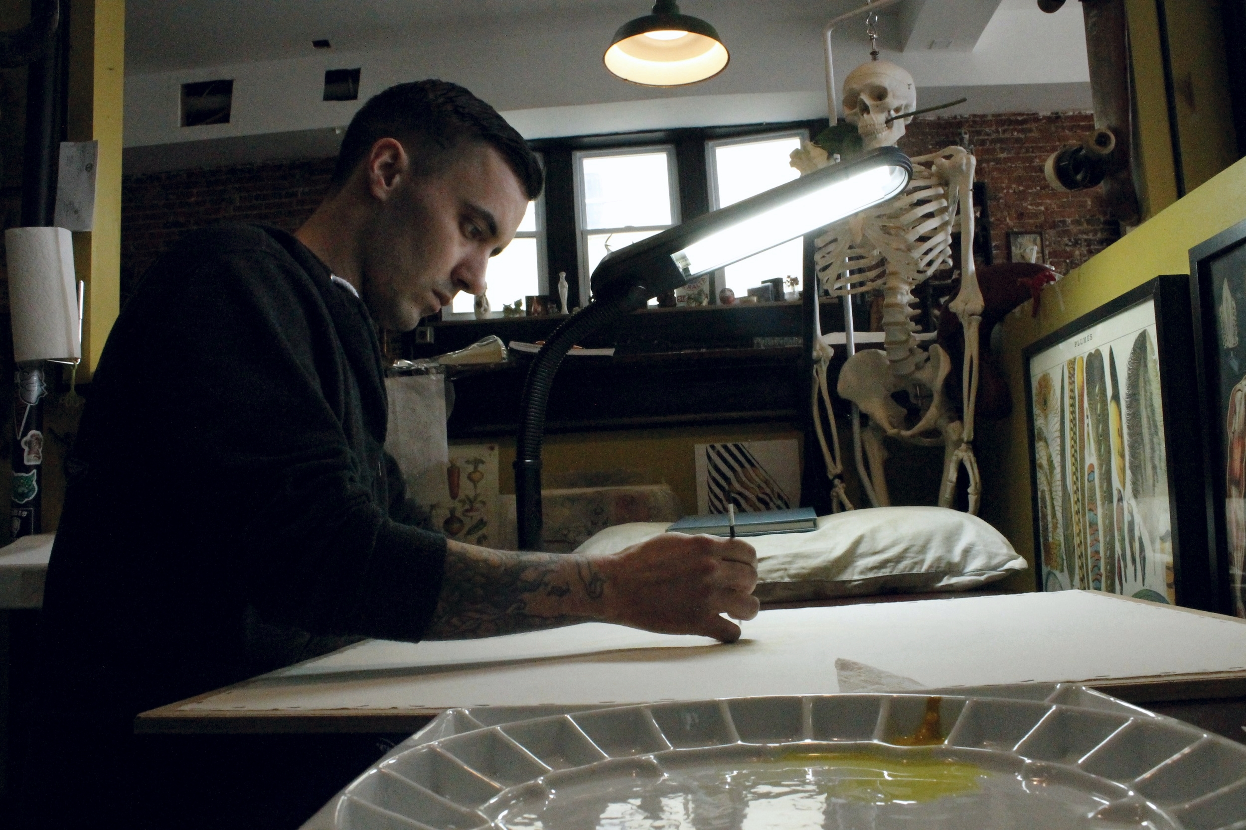 Wes working on his Dali watercolor painting.