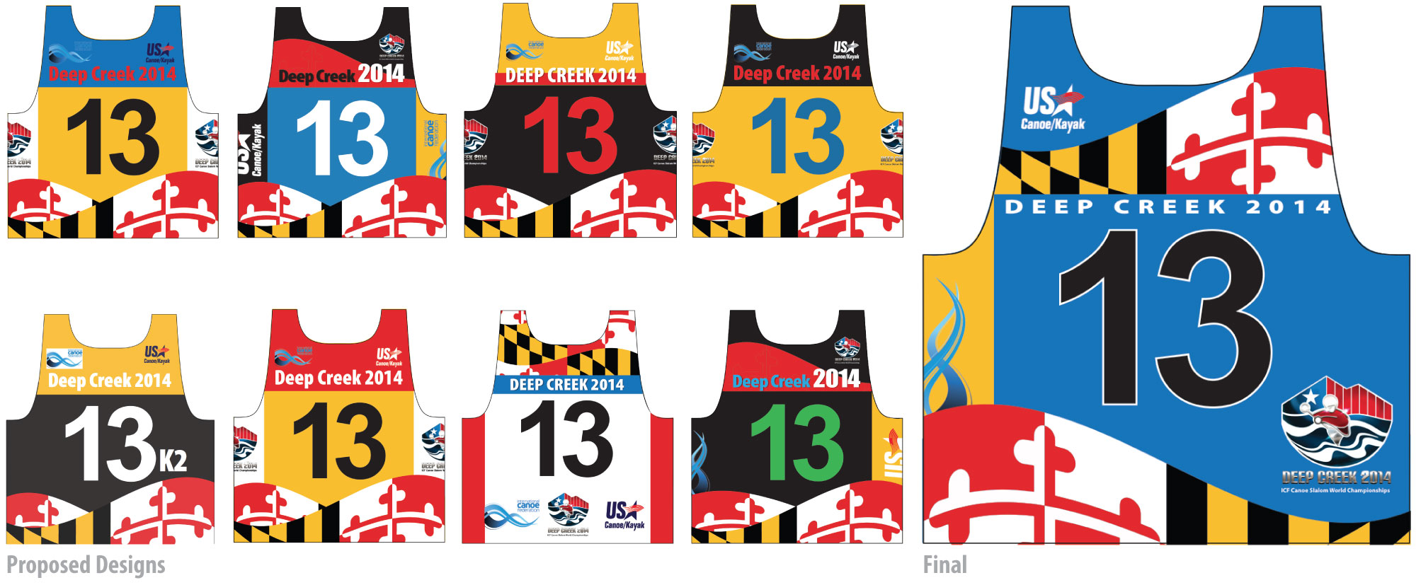 """Designing the numbered bib for the athletes to wear in competition was definitely a first for me. The only concept input was that it be a Maryland theme, other than that I was on my own. The first thing to do was to try to find out what """"not to do"""" when designing a bib, so I researched event footage and didn't stray much from the norm. There are times to be a rebel and this wasn't one of them. A very tight deadline and lack of knowledge of fabric printing kept me from having anything near a comfort zone. The design space was not without restrictions and rules governing text readability along with sponsor and organization logo protocol and hierarchy (it was made clear that under the arm was not prime real estate). There were political considerations that dictated placement and size of logos, along with the degree of contrast in colors. It was obvious once I had the template, this project would require more than the average number of options for the client(s) to ever feel the design was fair and equitable. Everything considered, the approval process was slow but fairly painless and I think a minimum of compromises were made by all. This is about half of the design variations that were shown."""