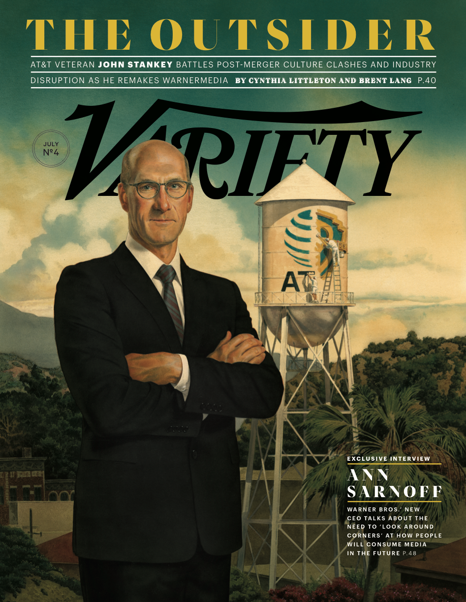 An illustrated John Stankey on the cover of Variety