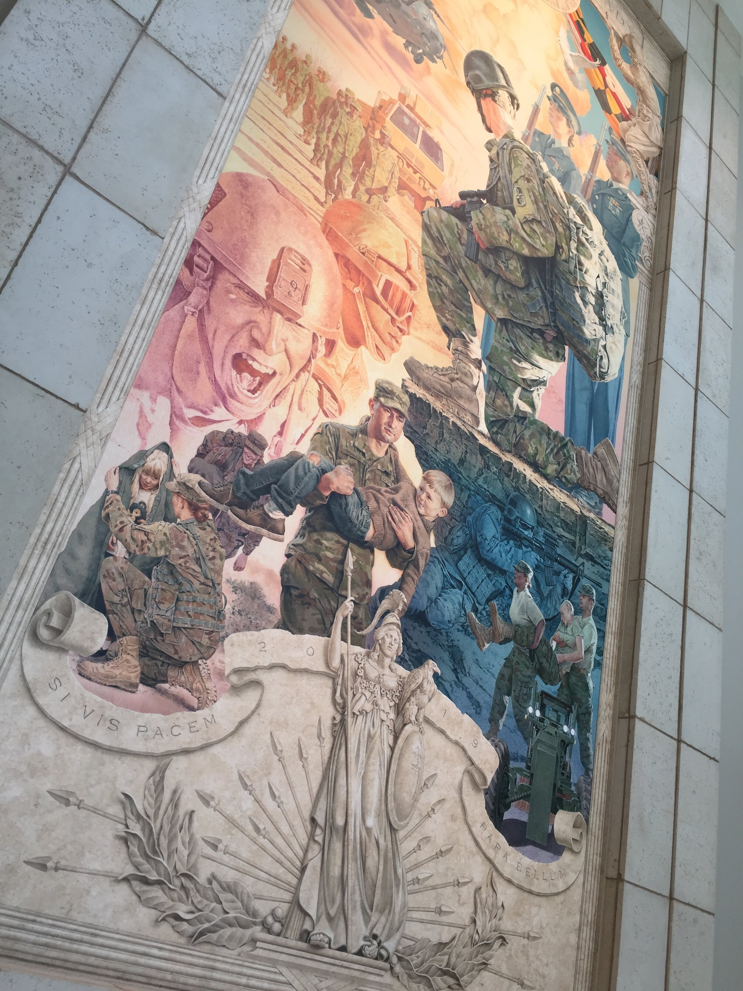A two-story lobby accommodates an 8 by 18-foot mural honoring the Maryland Army National Guard.