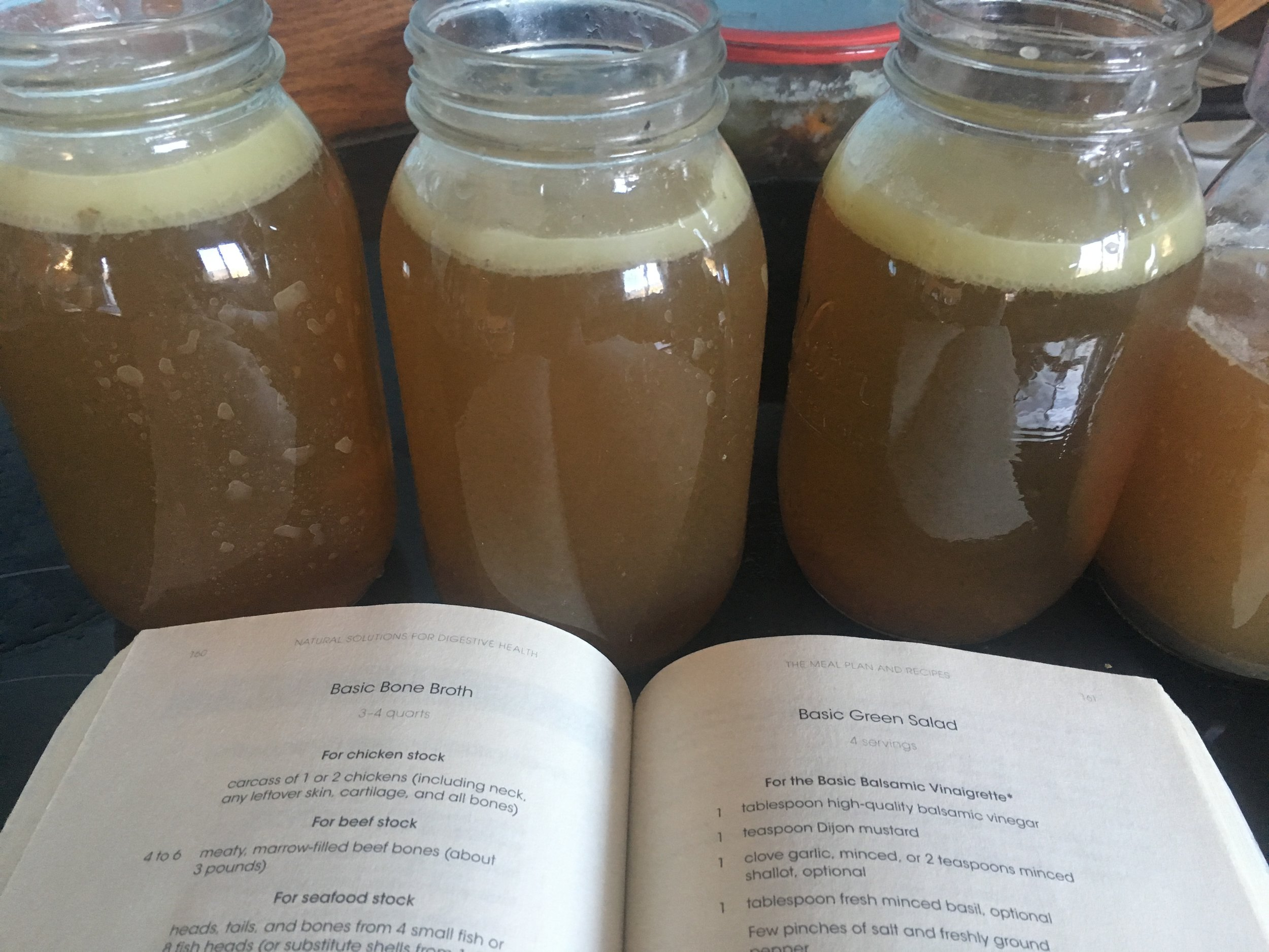 Ox tail bone broth with some yummy fat...recipe adapted from  Natural Solutions for Digestive Health.