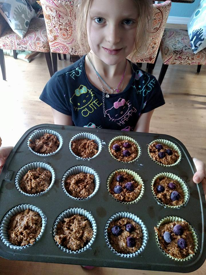 Protein Pack Muffins with frozen blueberries.