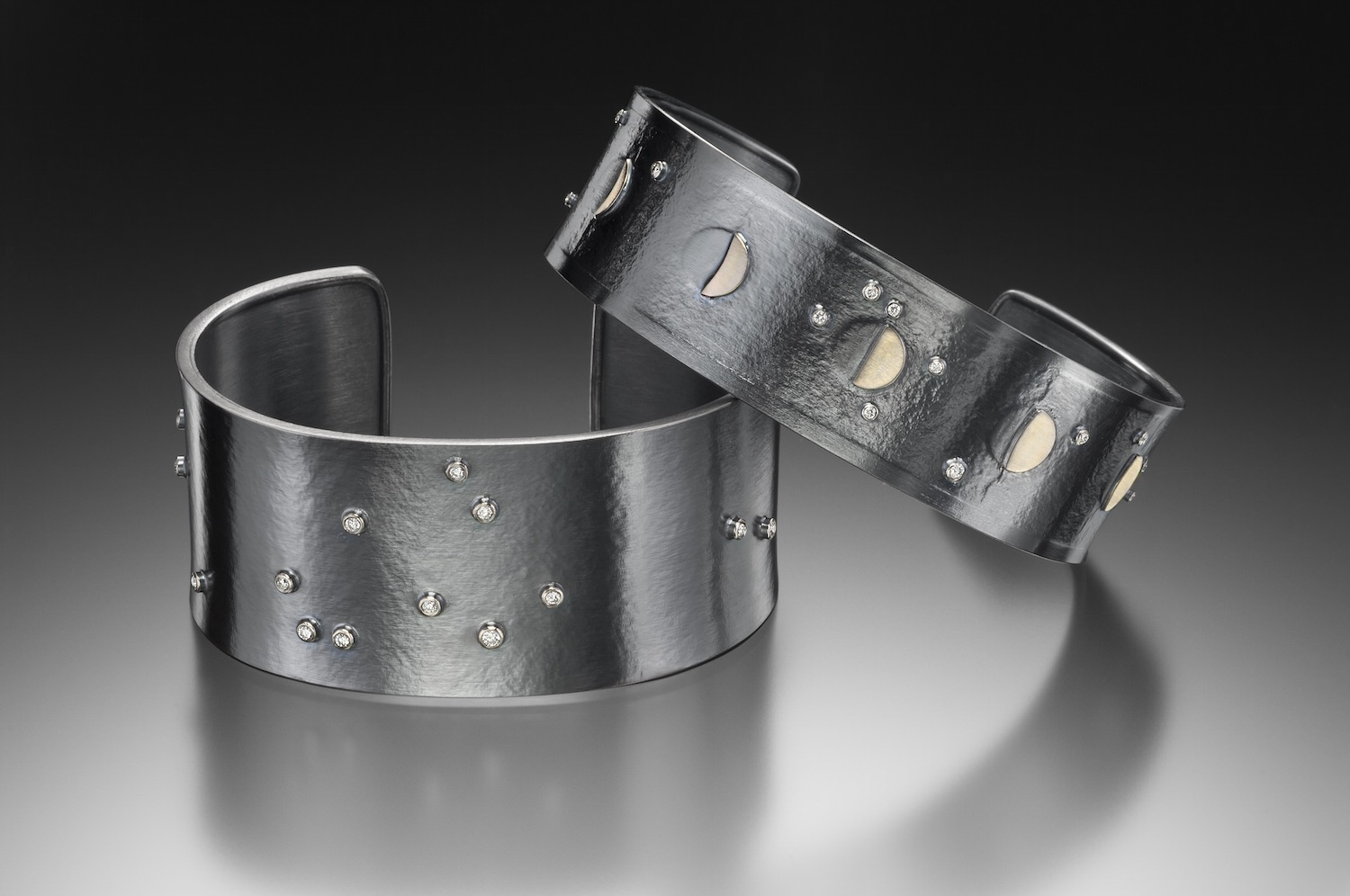 Star Map Cuff and Simple Moon Phases Cuff with Diamonds