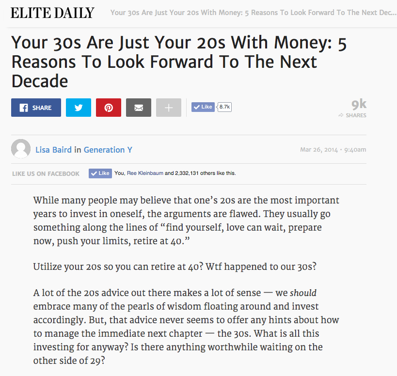Elite Daily article on 20s versus 30s.