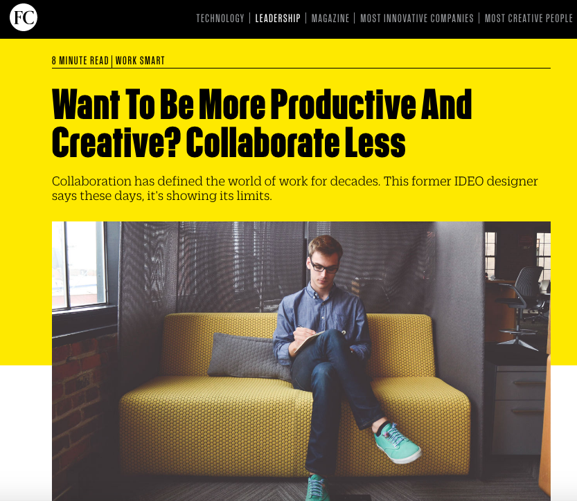 Fast Company article on the costs of collaboration.