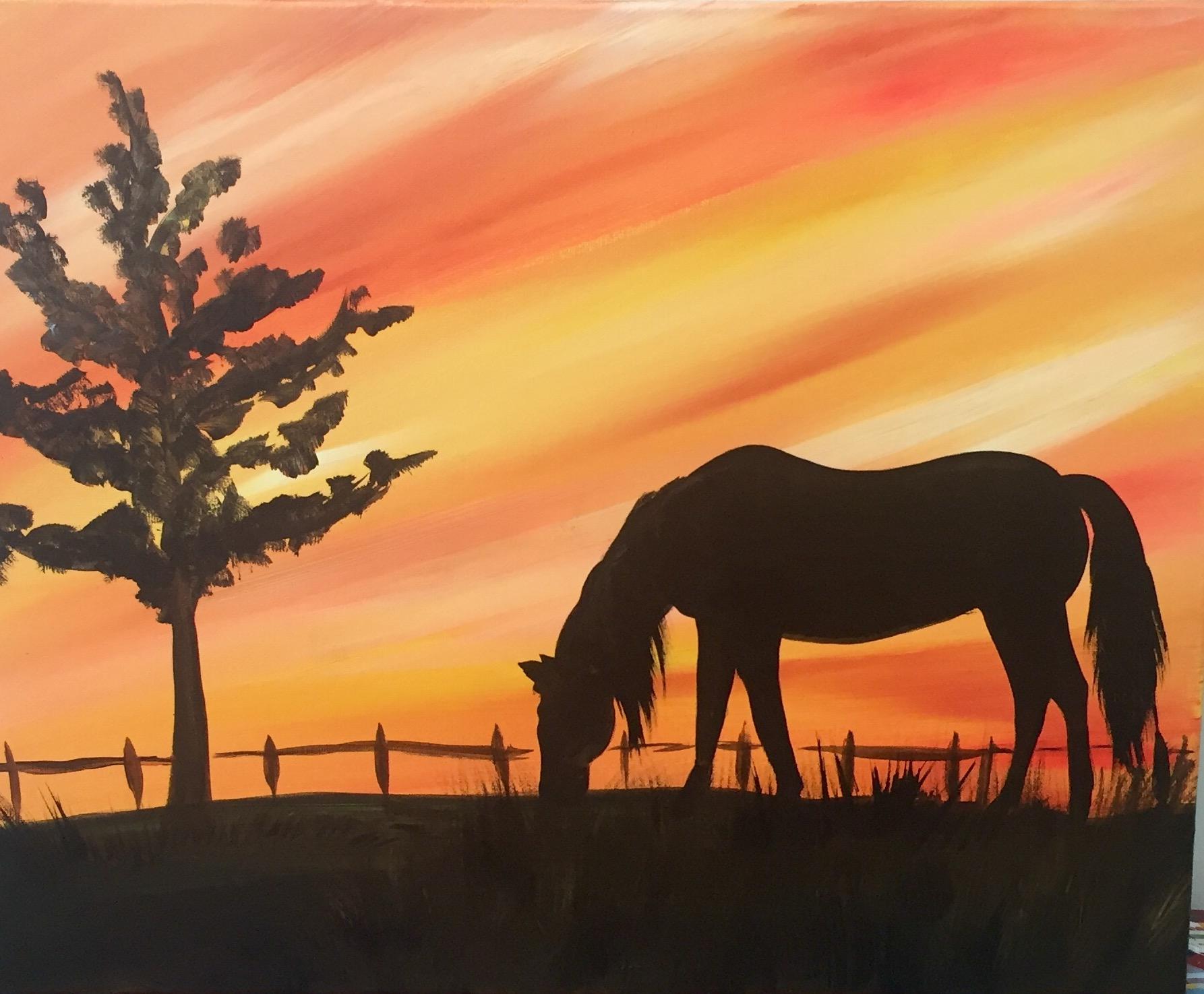Deer Horse Elephant Sunset Sip Gogh