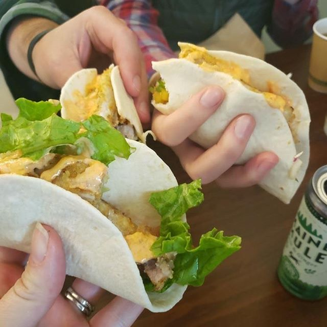 Celebrating #nationaltacoday with some great friend in Bar Harbor