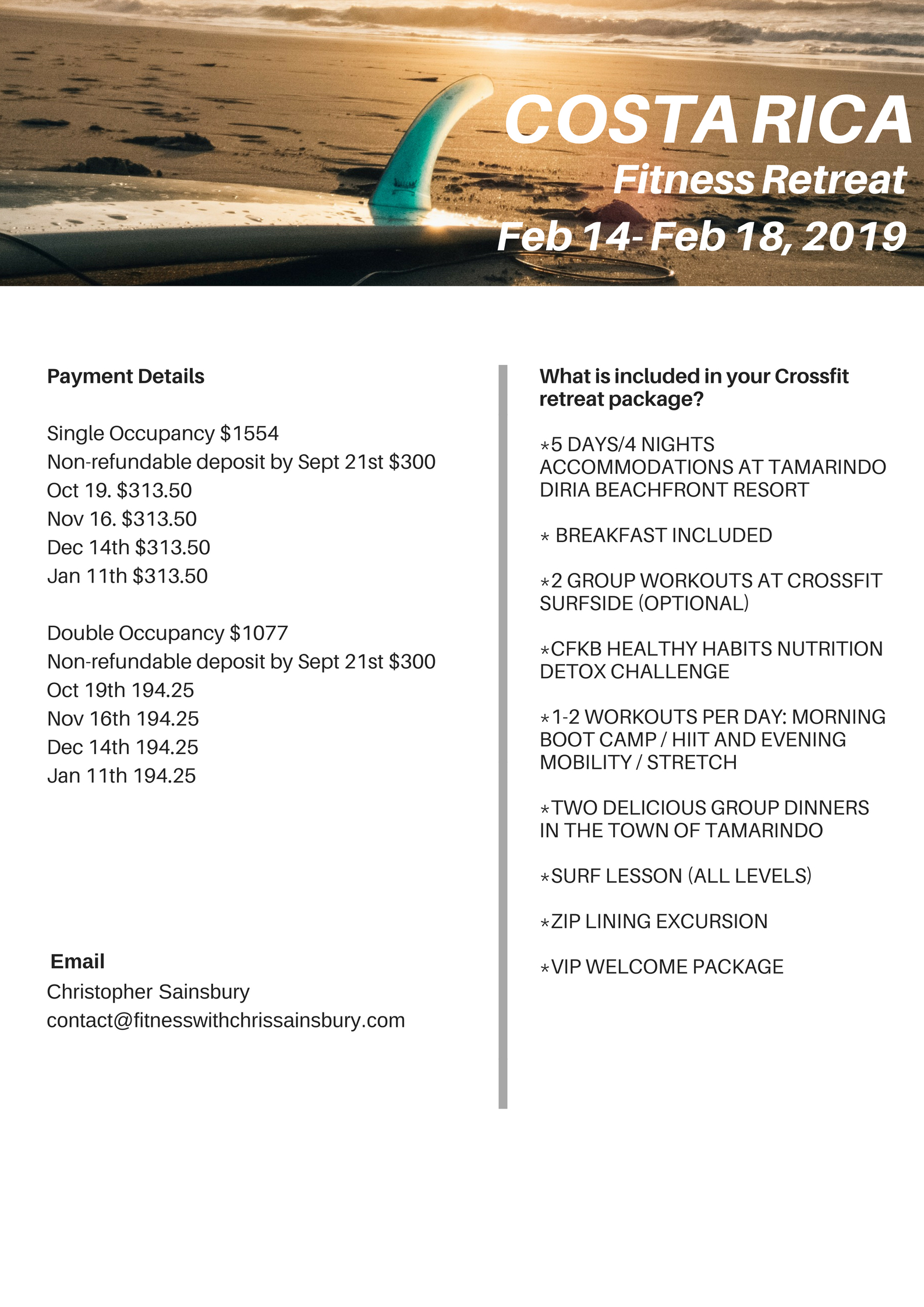 Join Chris Sainsbury of Crossfit Kingsboro on his 3rd FITCATION to remember! Hosted at the Tamarindo Diria Beach Resort in Costa Rica on Feb 14-18th, 2014 this fitcation  (1).jpg