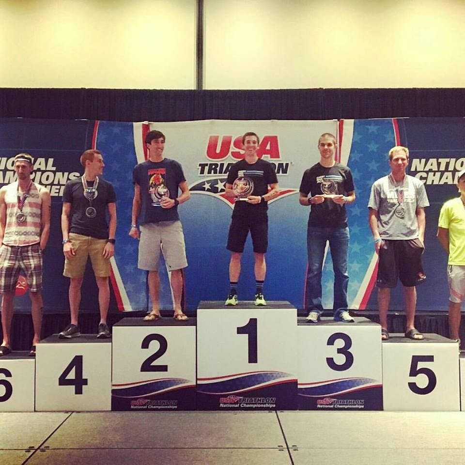 On the top spot, but still not the tallest on the podium!