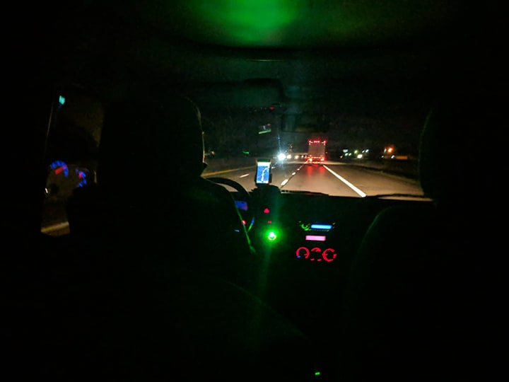 Dad driving through Ohio sometime after midnight while I was sleeping in the back of the RV