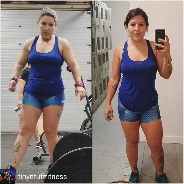 """Wendy @tinyntufffitness has had an incredible personal transformation 💪☺️ Reposted from @tinyntufffitness - ☝️☝️Let's be REAL! The last 9/10 months I've been fighting my bodyweight hard! My nutrition hasn't been the greatest, stress had been through the roof, excuses, excuses.... really I lost touch with my passion for hitting the weights and just got """"comfortable"""" - crazy thing is I was FAR from comfortable in my skin. I justified my eating patterns and missing workouts. About 3 weeks ago I had a complete breakdown and it hit me hard. The person looking back at me in the mirror just wasn't me. Ive been hitting the gym consistently and really paying attention to my nutrition - letting myself live but being way more strict - and it's paying off! . . The picture on the left is from mid May,  the right is today! I don't think I really realized how far off I let myself go in such a short time! I may not be where I once was, but I'm much closer to where I personally want to be! . . Everyone has personal goals to strive for, and let me tell you, never ever lose track of those goals! They are individual and so important! Life happens, that is true, but get back up and kick some serious ass when it does! . . #tinyntufffitness #liftbodymindsoul #wreckroomkw #strongertogether #personaltraining transform #throwbackyhursday #kitchenertrainer #personaltrainer #kwtrainer #strongertogether"""