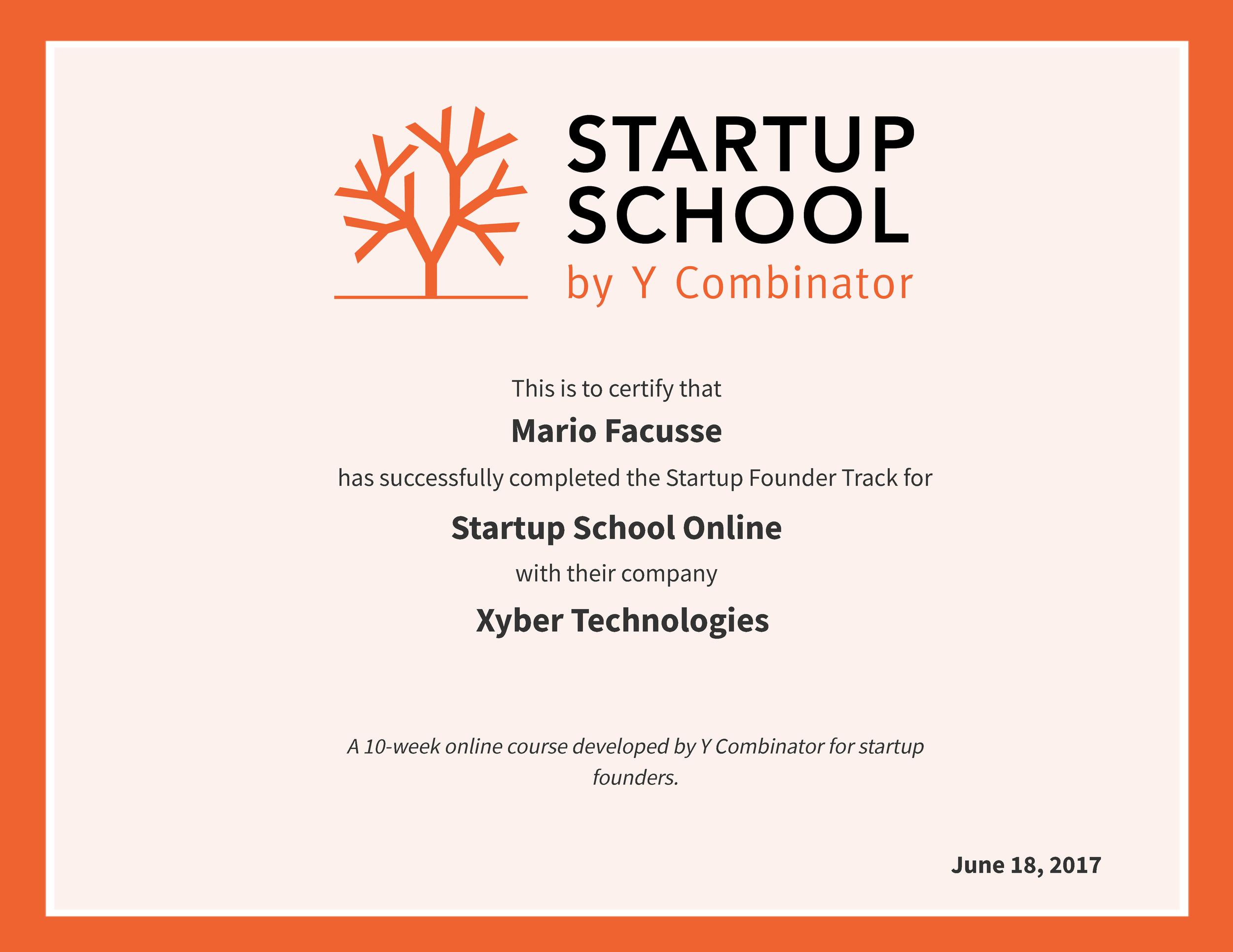 Y Combinator Startup School Certificate
