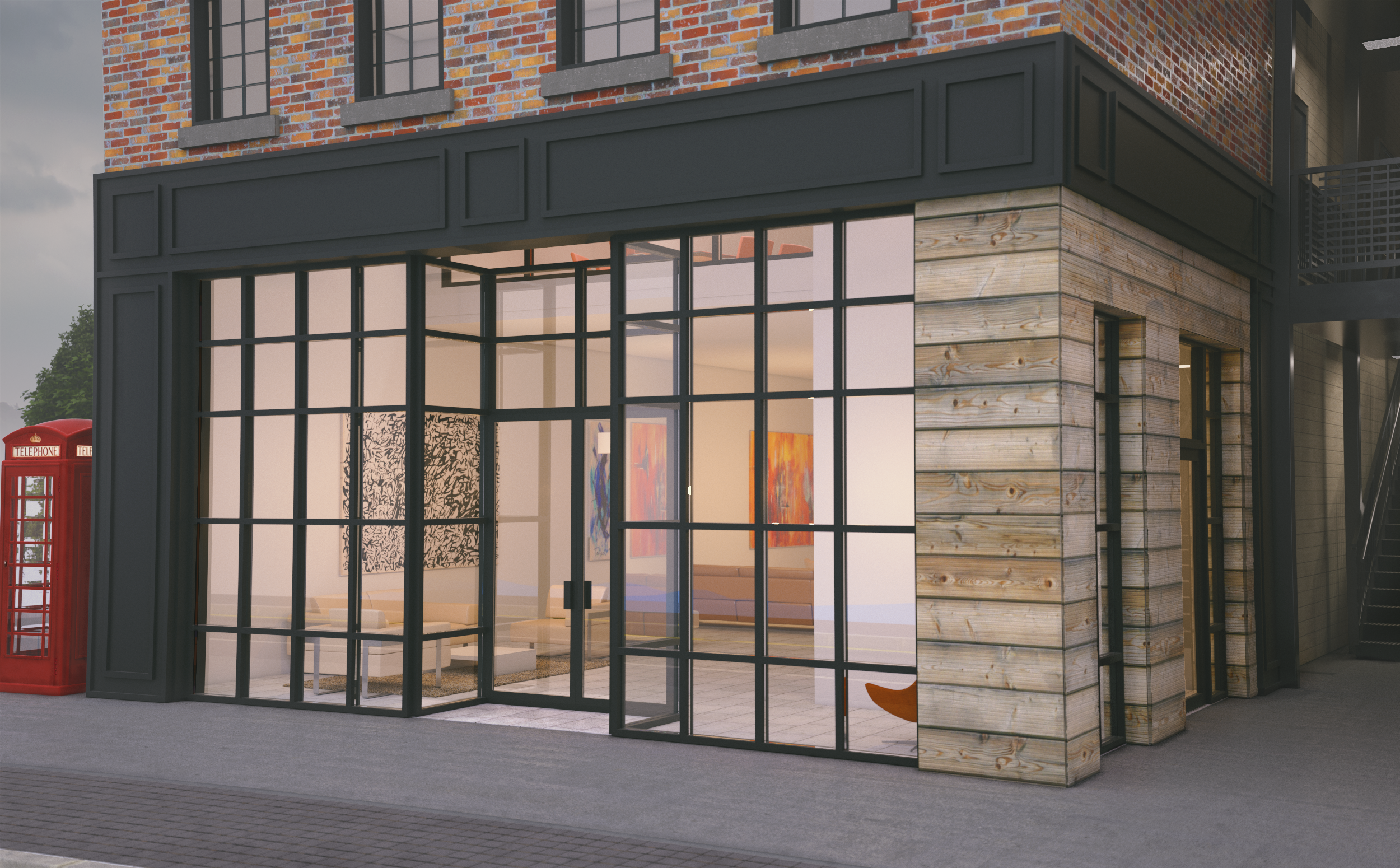 Rendering for the 1st floor (Available for Pre-Lease) of our Haxton District (Phase Two) building in Downtown Bentonville.  (Rendering courtesy of  Taylor Boswell )