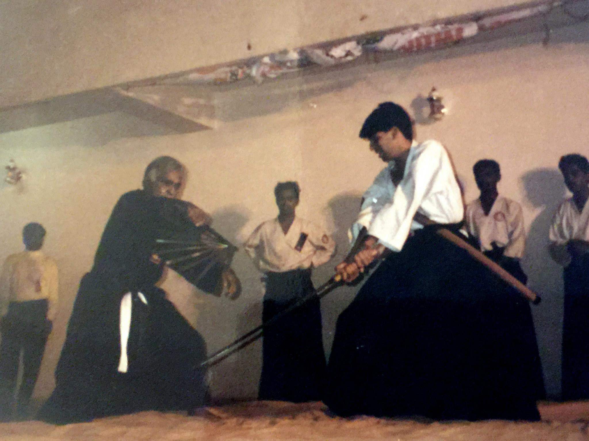 Lunia Sensei training under the guidance of Sastri Sensei. All techniques were always pressure tested with live blades and sometimes demo's drew blood.