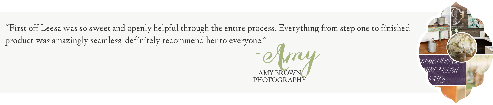 Leesa Dykstra Designs - Review Amy Brown Photography