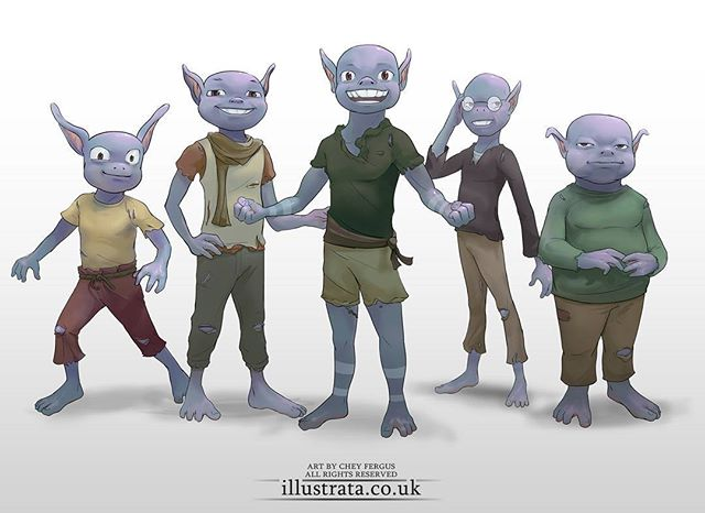 The Clyde Collective! The full main group of the little critters! Aww! They're so bald and blue!