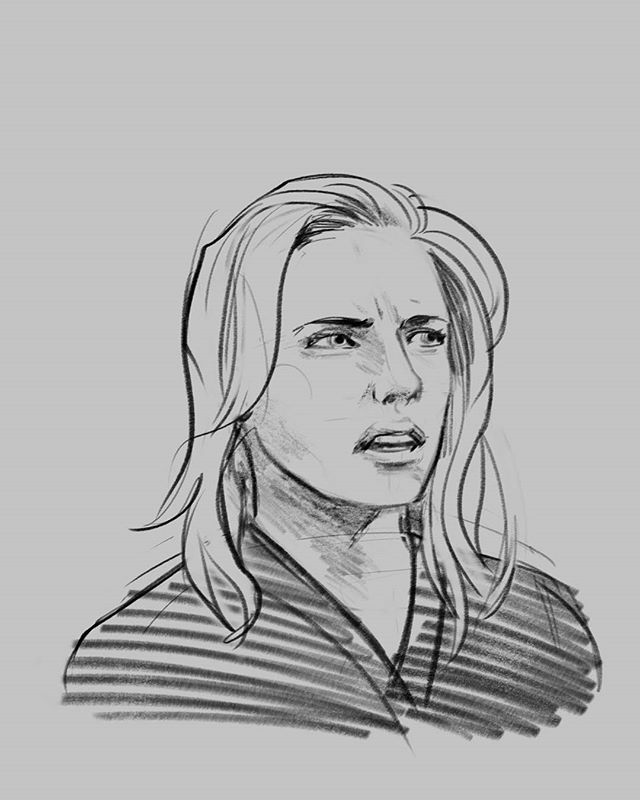 Super quick expression study before bed. Why does she look so disgusted? #earlynight