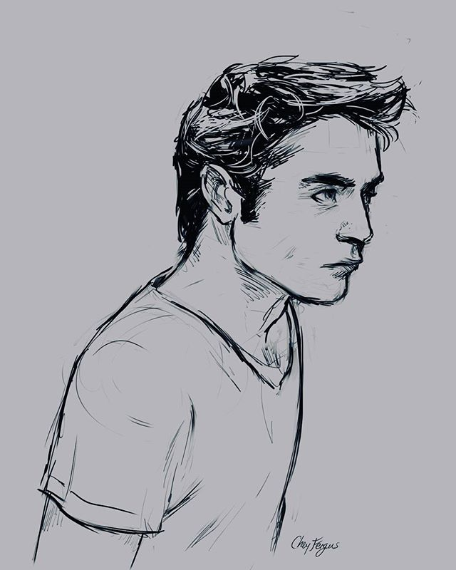 Sketch before bed #15minutes #robertpattinson #tired