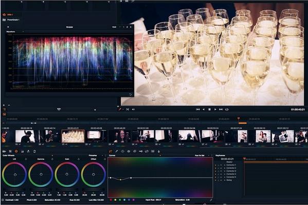 DaVinci Resolve Best i Tekst Samtext Grading Champagne Revers Produksjon Event Film