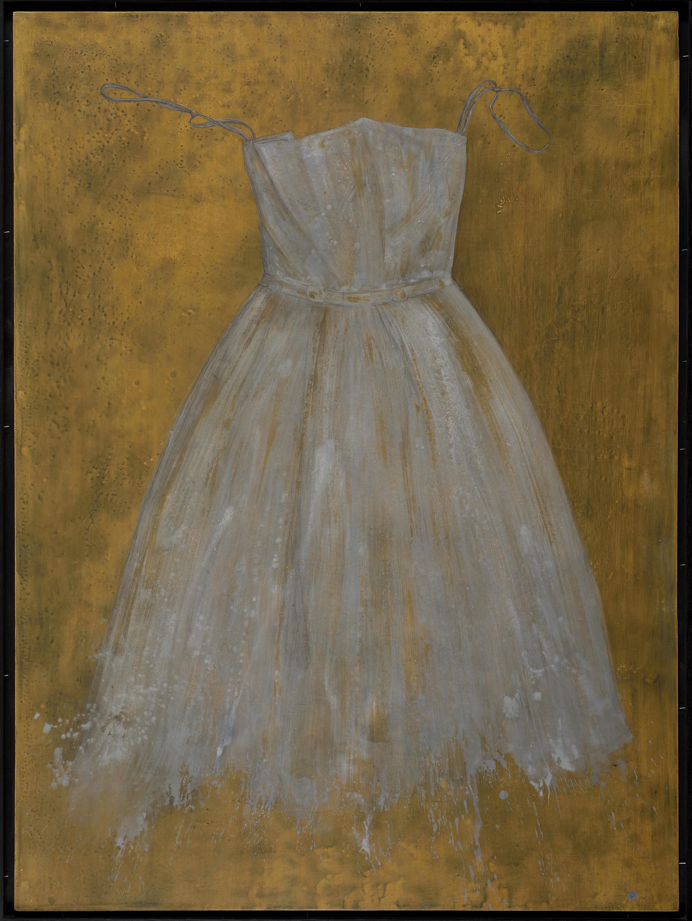 Dress II - egg tempera on gessoed panel 122 x 90 cm
