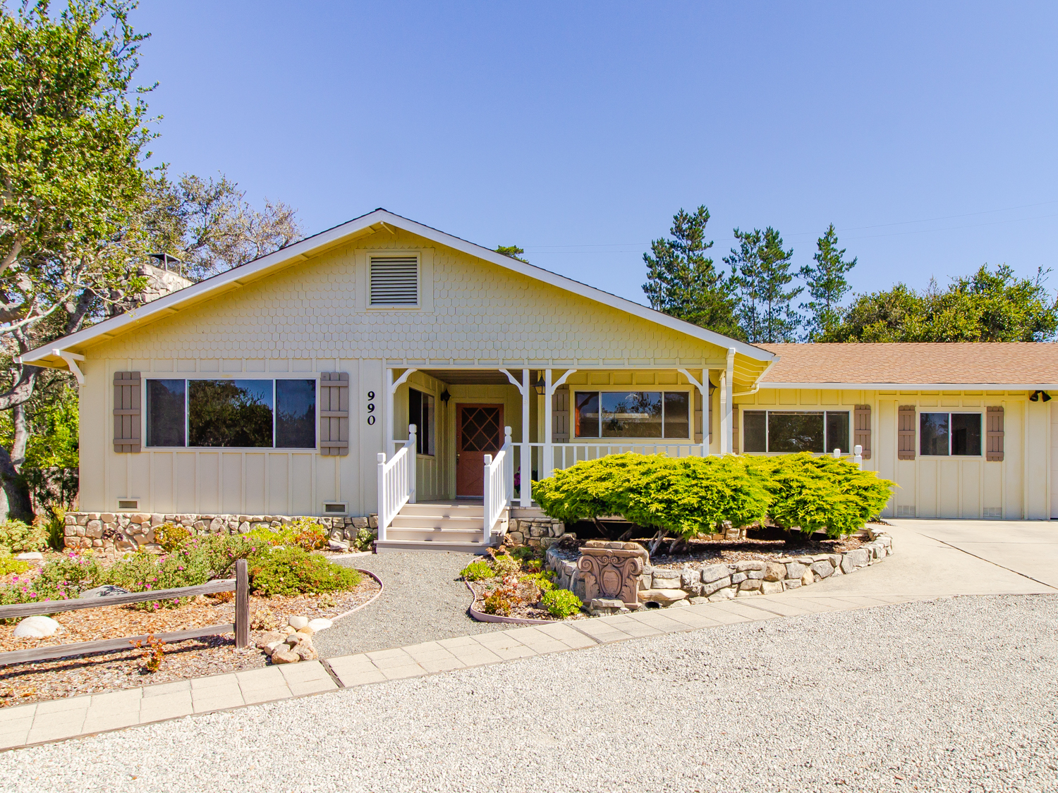 Vaulted ceilings, skylights and abundant natural light, three car garage, back patio and more!