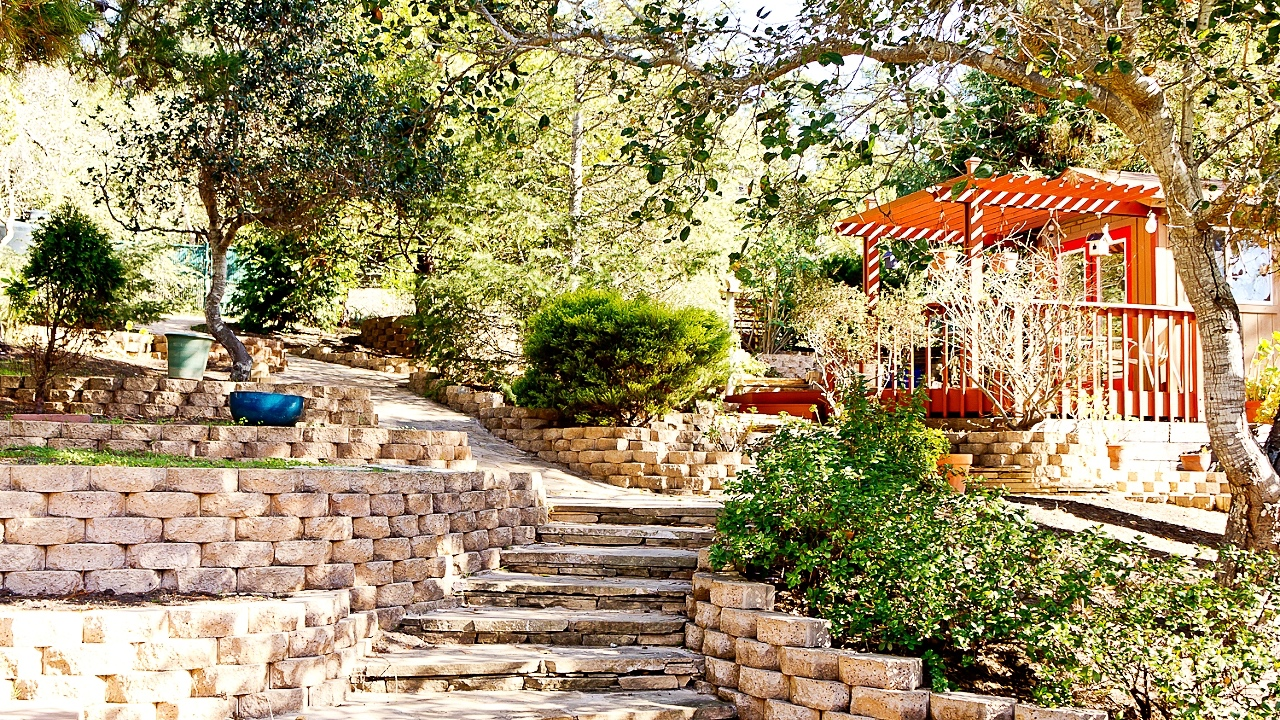 Custom landscaping, artist studio and multiple flagstone pathways.