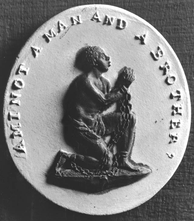 """Original seal of the Quaker-led Society for Effecting the Abolition of the Slave Trade, founded in Philadelphia, 1787. Inscription: """"Am I Not A Man And Brother?""""http://www.pbs.org/wgbh/aia/part2/2h67.html"""