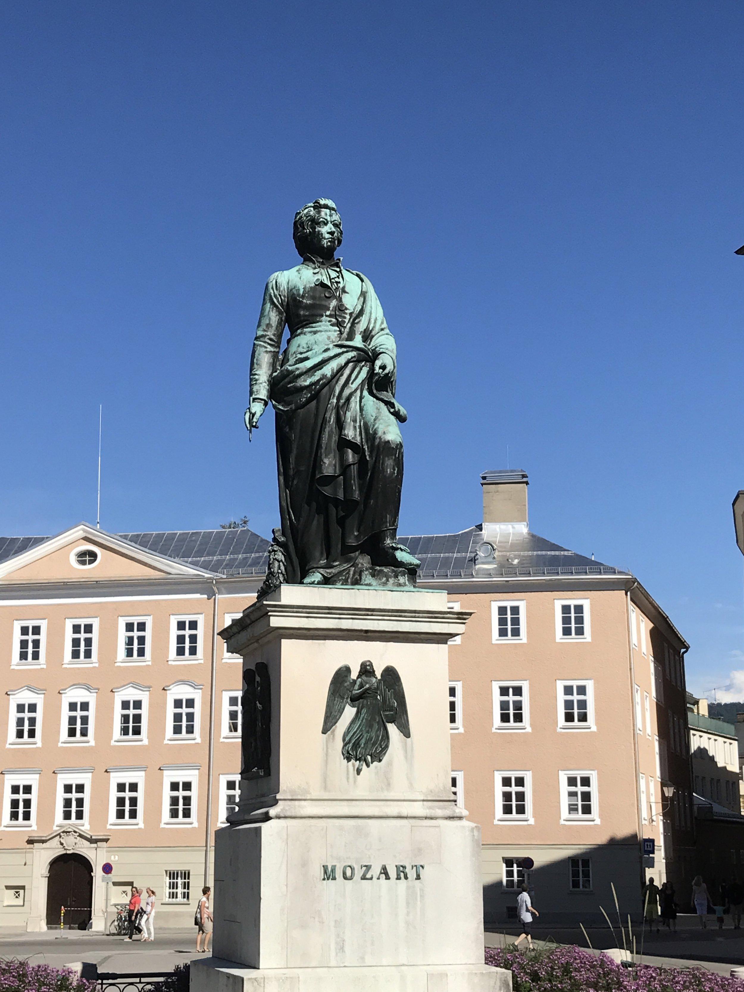 The Statue of Mozart in Mozartplatz