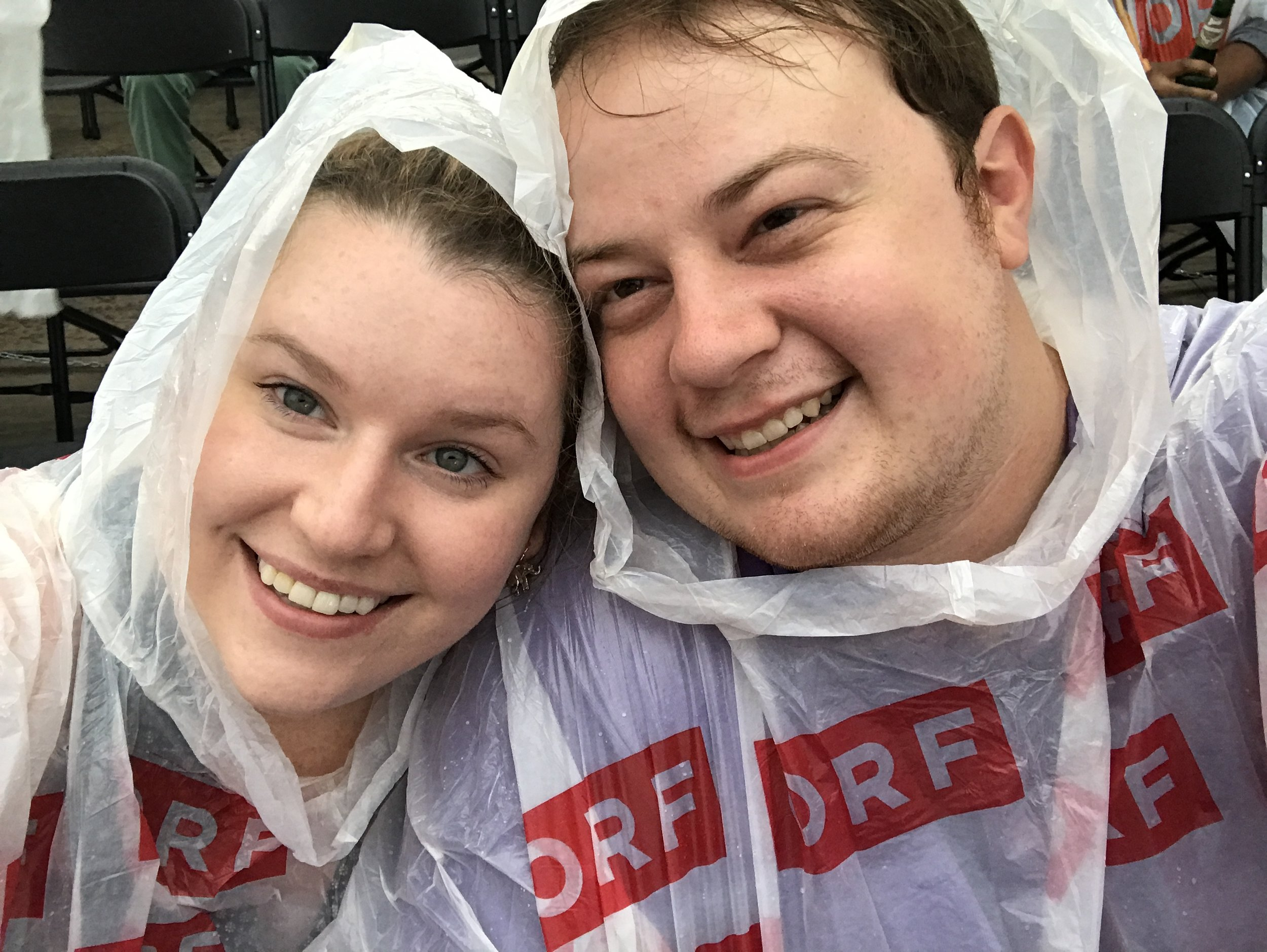 Ashley and I watching Mozart's Clemenza di Tito in the rain...