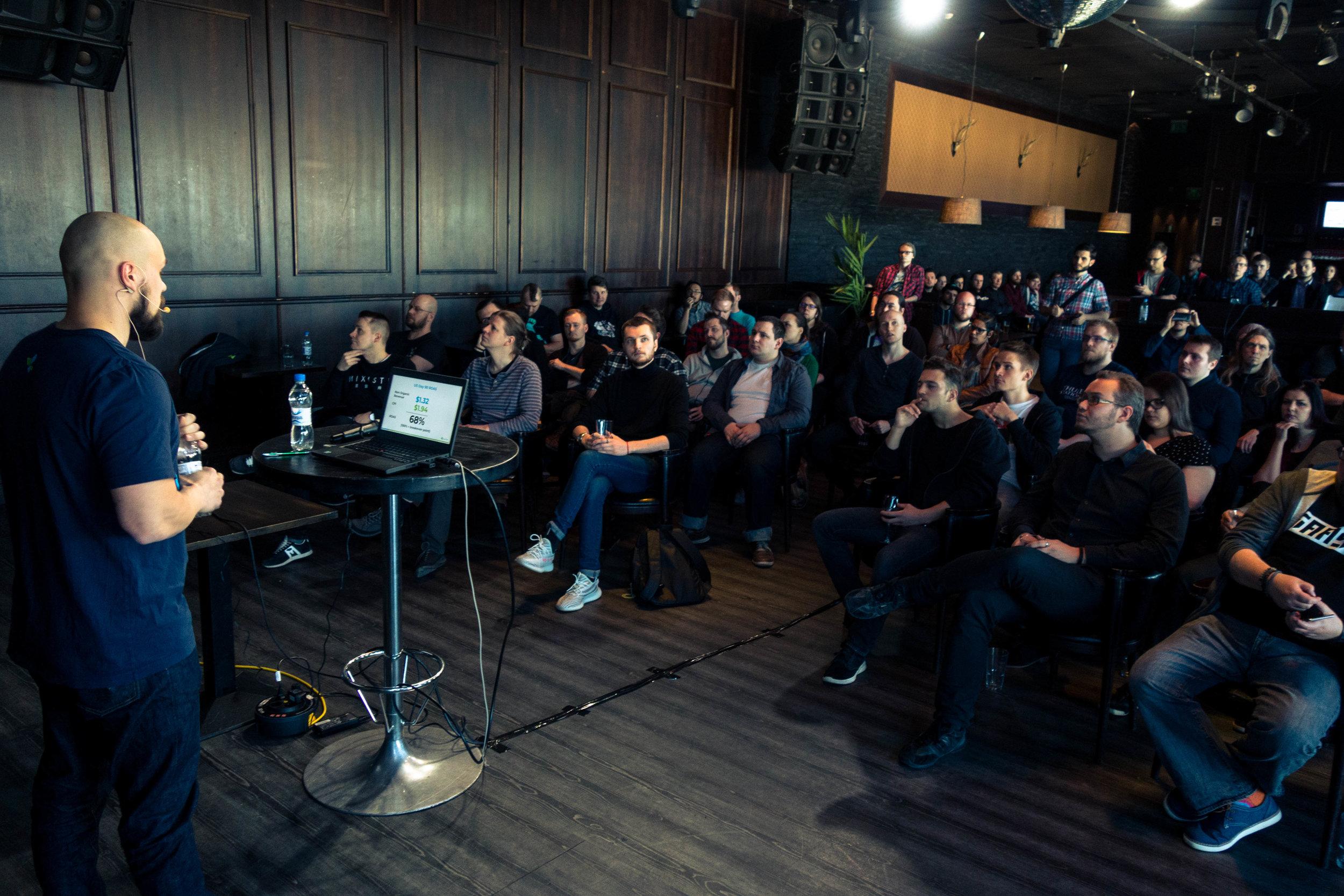 Patrik Lehti addressing the audience. Photo by Casimir Kuusela