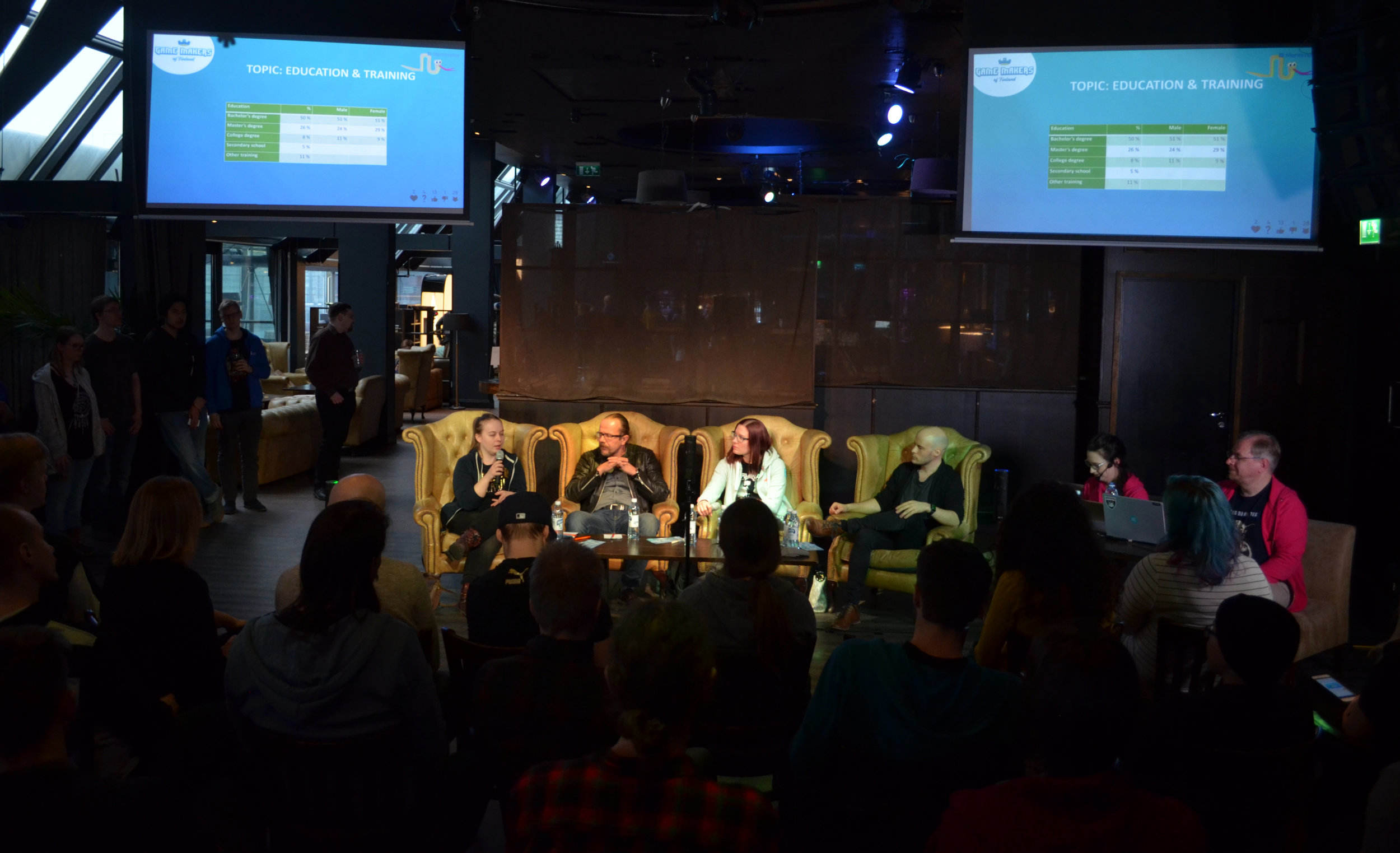 Left to right: Panelists Jenny Tirkkonen, Koopee Hiltunen, Mariina Hallikainen, Joonas Häll and moderators Milla Pennanen and Sami Vuolanne. Photo by Jesse Eloranta.