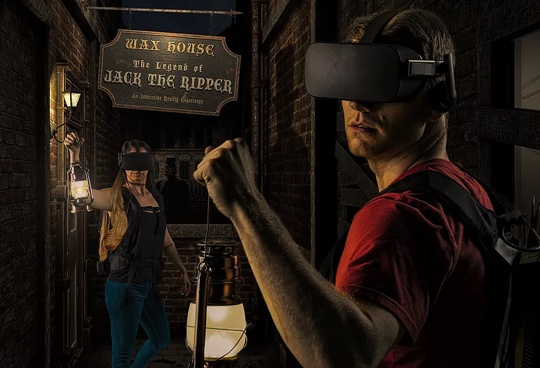 """Waxhouse by HollowZone. A multi-sensory virtual reality experience where you travel back in time to """"The Autumn of Terror."""" Search for clues and solve puzzles to solve the mystery of the Legend of Jack the Ripper. 302 Interactive was a software development vendor on the Wax House Project."""